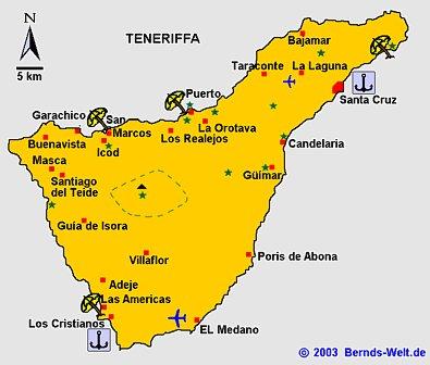 Teneriffa Karte.Teneriffa Teresitas Candelaria Teide Loro Park Anaga